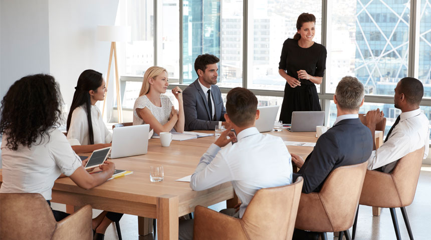 Group of people meeting in a conference room